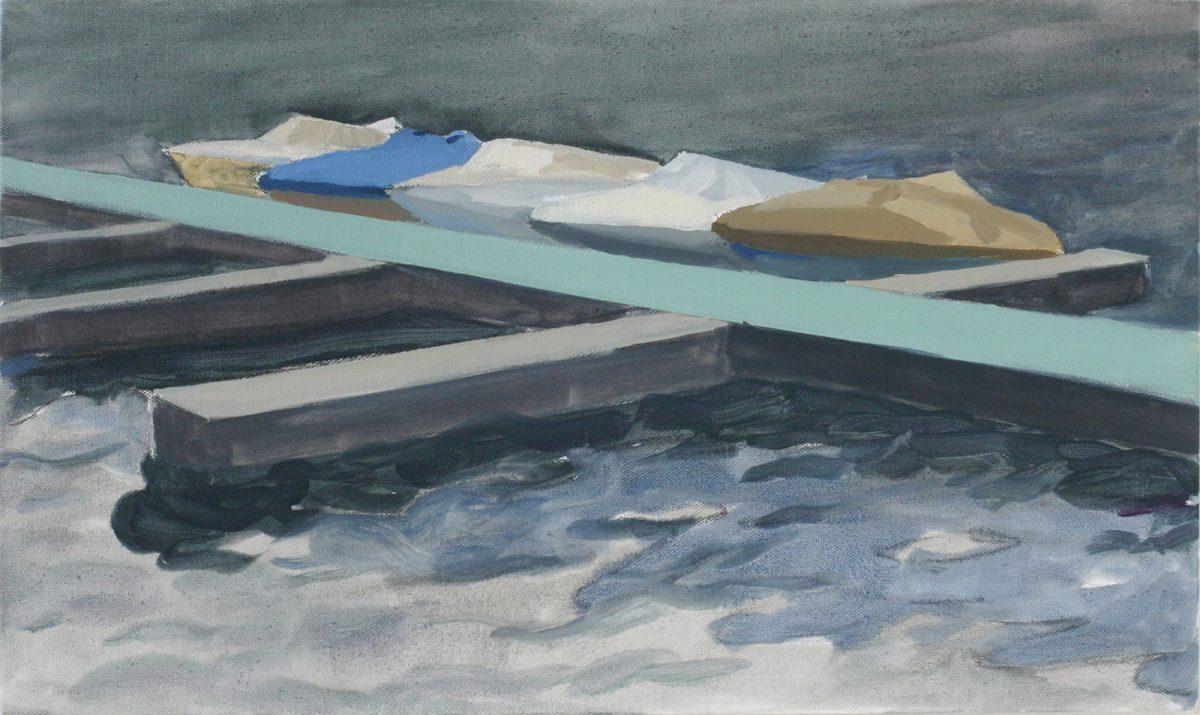 Hans-Willi Notthoff – PLEIN AIR – Bootssteg, 30x50 cm, Öl auf Leinwand, 2009