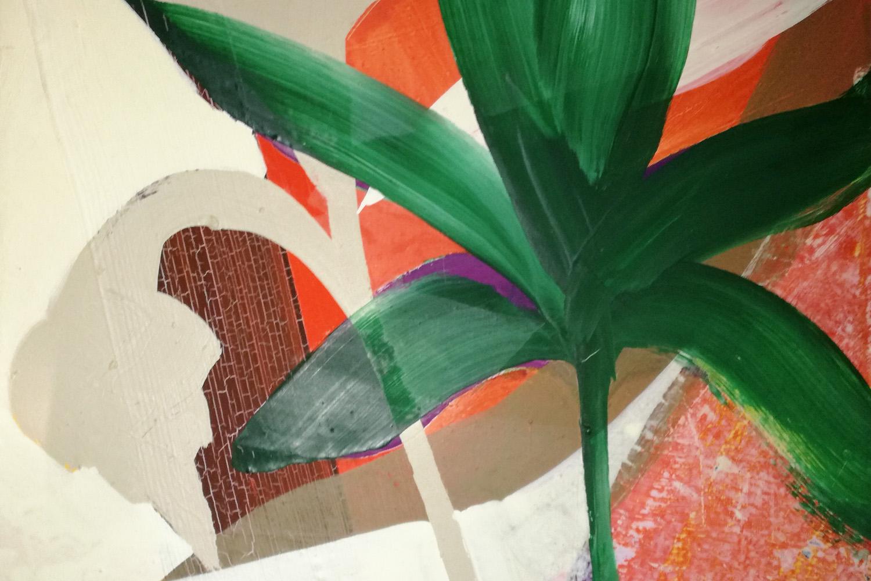 Hans-Willi Notthoff – TOBAGO – Bananenbaum, 35 x 45 cm, Öl auf Leinwand, 1999