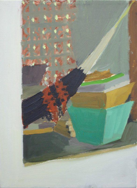 Hans-Willi Notthoff – PLEIN AIR – Hängematte und Kisten, 40x30 cm, Öl auf Leinwand, 1999