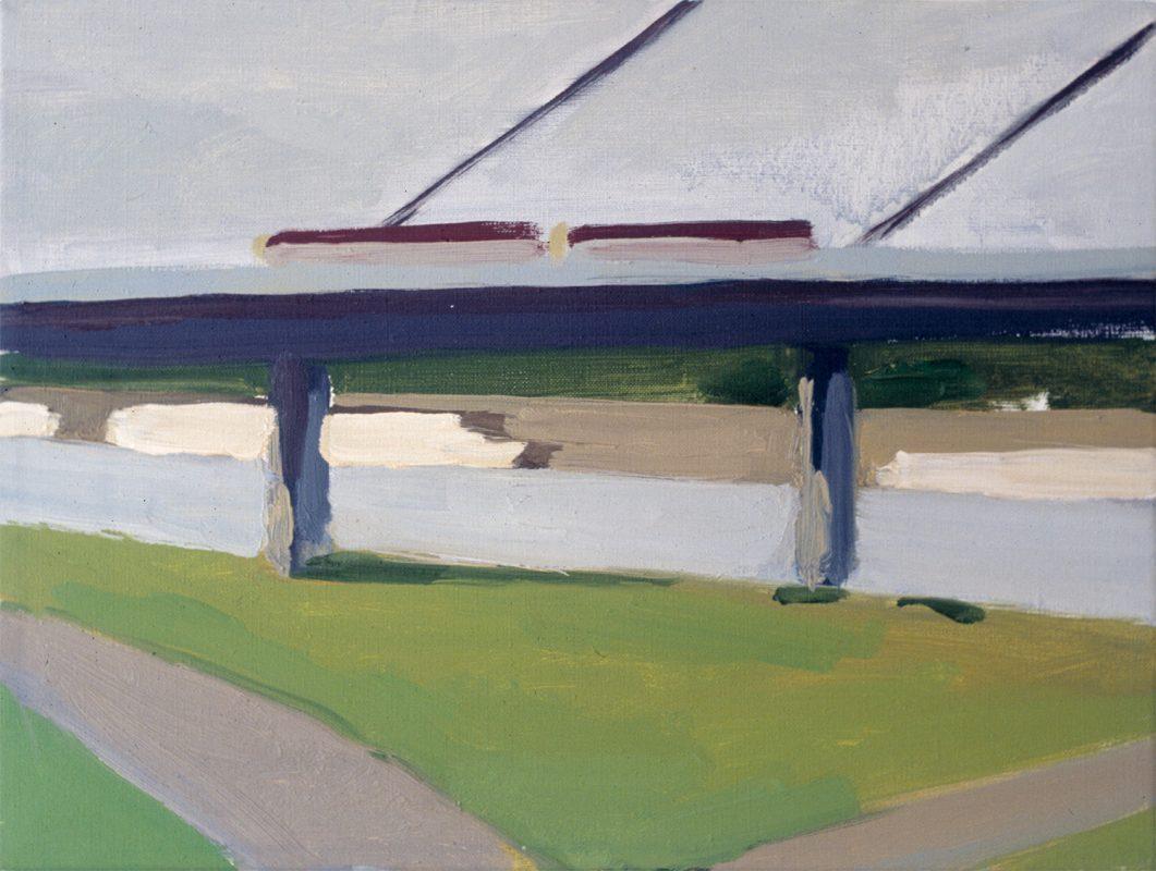 Hans-Willi Notthoff – PLEIN AIR – Brücke und Bahn, 30 x 40 cm, Öl auf Leinwand, 2000