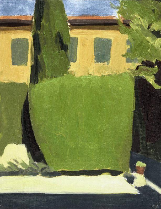 Hans-Willi Notthoff – PLEIN AIR – Florentinischer Garten VII 17.30, 35 x 45 cm, Öl auf Leinwand, 2002