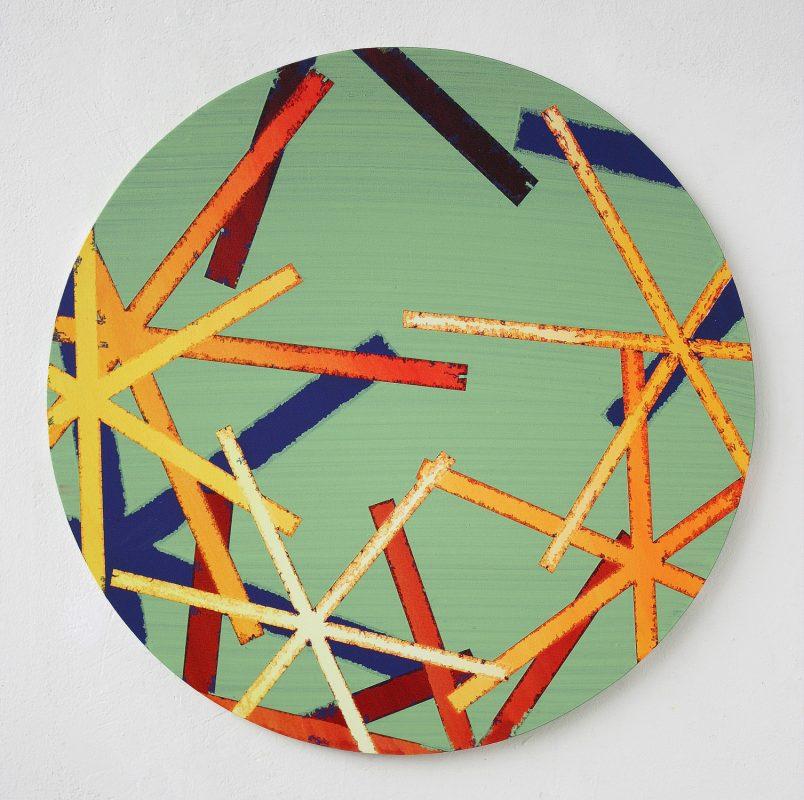 Hans-Willi Notthoff – SHIFT – Tondo, 100 cm, Acryl, Öl auf Leinwand, 2009