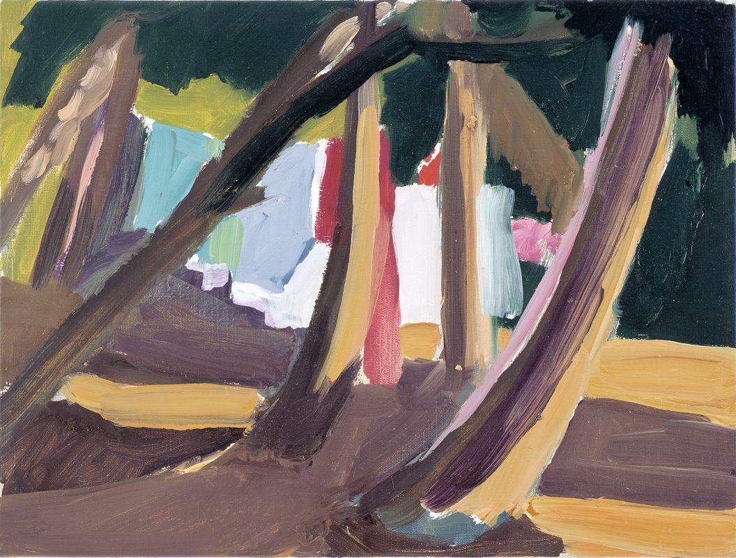 Hans-Willi Notthoff – PLEIN AIR – Wäsche-Garten, 30x40, Öl auf Leinwand, 1999